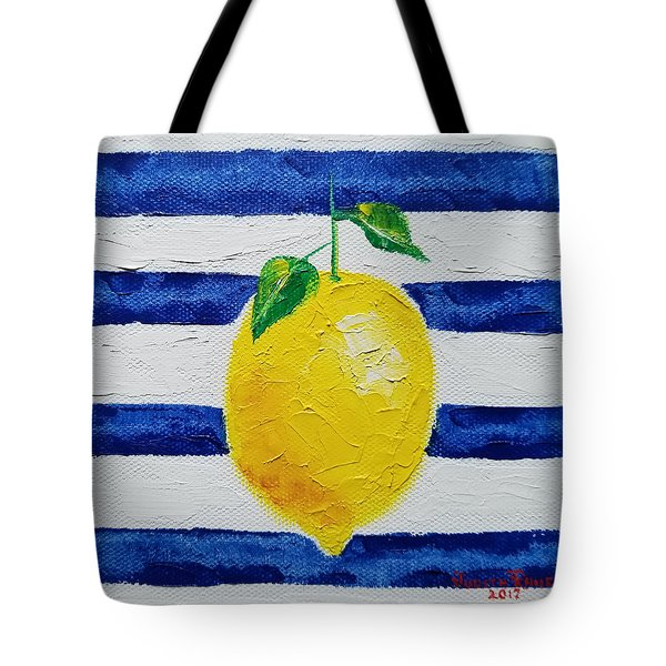Tote Bag featuring the painting Sorrento Lemon by Judith Rhue