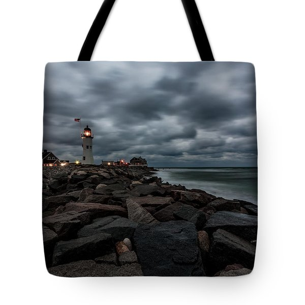 Stormy Clouds Over Old Scituate Lighthouse In The Early Morning Tote Bag