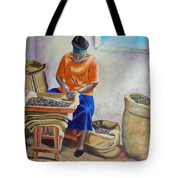 Sorting Nutmegs Tote Bag by Laura Forde