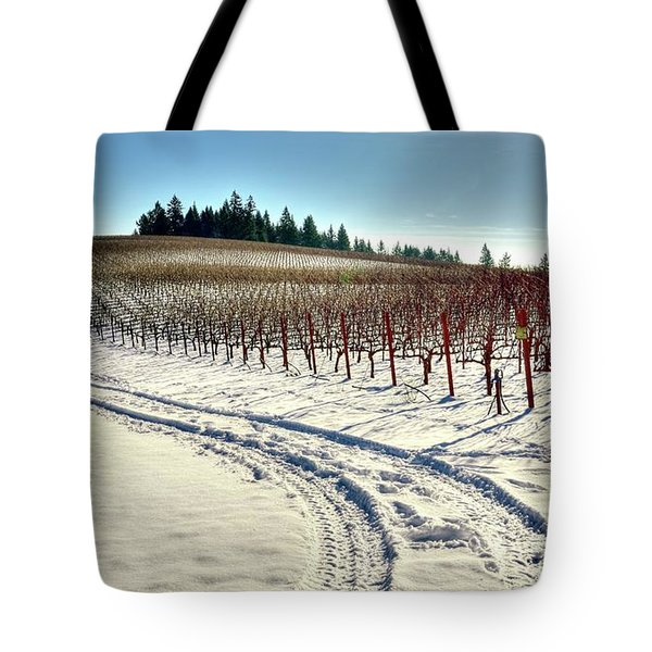 Soter Vineyard Winter Tote Bag by Jerry Sodorff
