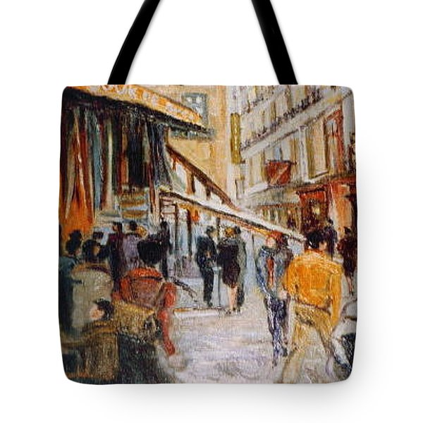 Tote Bag featuring the painting Souk De Buci by Walter Casaravilla