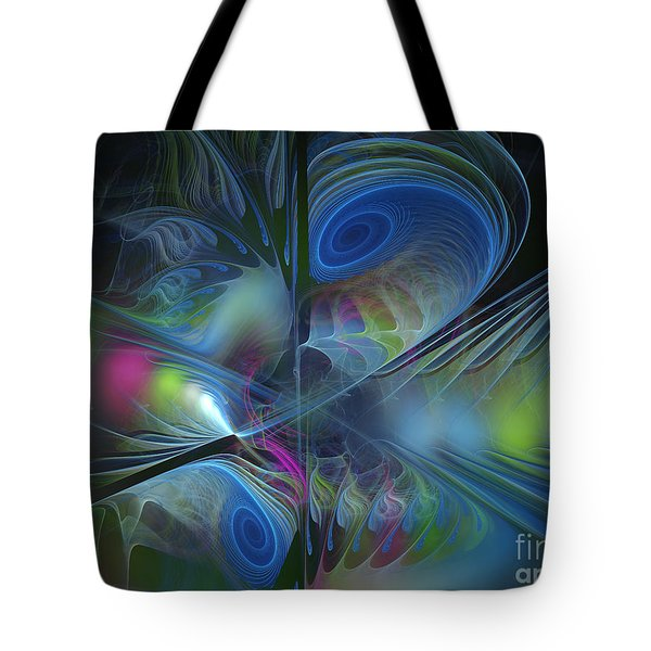 Tote Bag featuring the digital art Sound And Smoke by Karin Kuhlmann