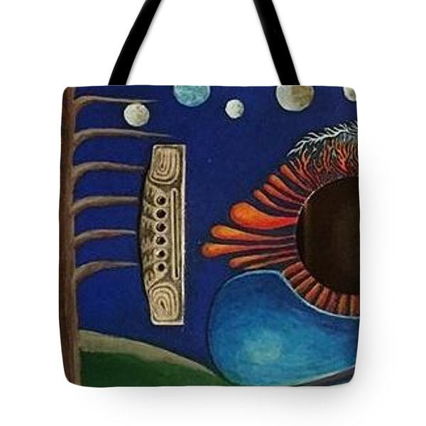 Tote Bag featuring the mixed media Sound Hole by Steve  Hester