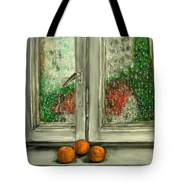 Sound Of Rain  Oil Painting Tote Bag by Natalja Picugina