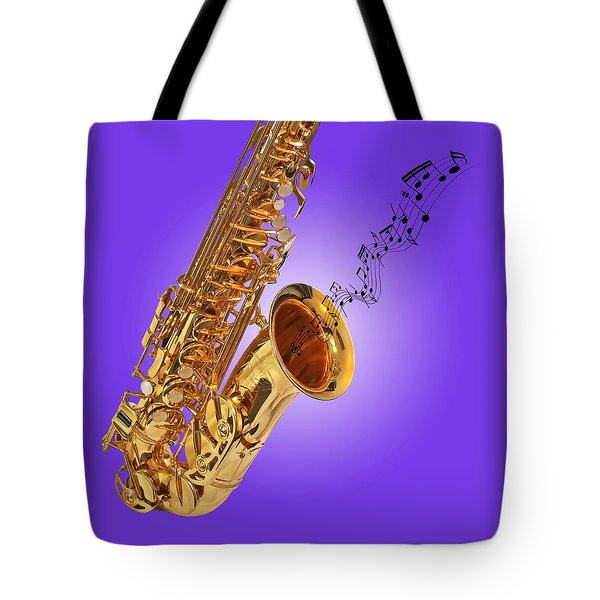 Sounds Of The Sax In Purple Tote Bag by Gill Billington