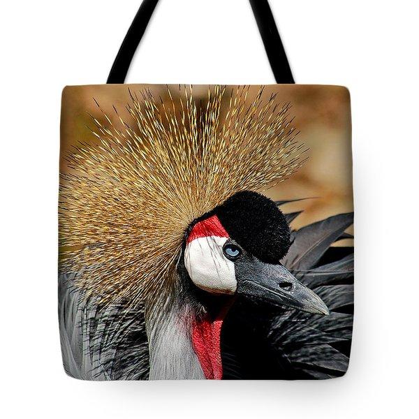 South African Crowned Crane Tote Bag by Linda Brown