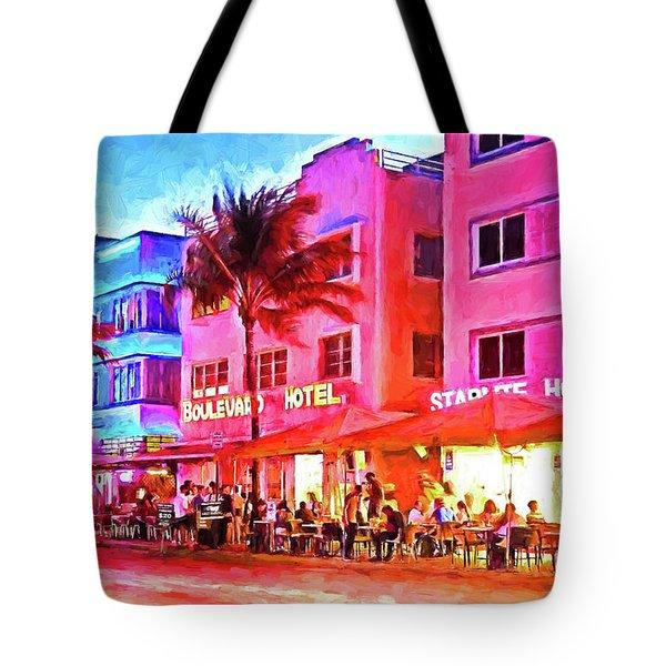 South Beach Neon Tote Bag by Dennis Cox WorldViews