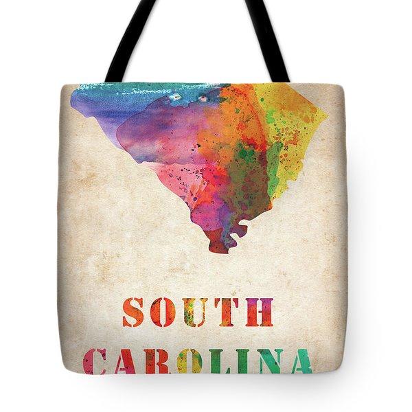 South Carolina Colorful Watercolor Map Tote Bag