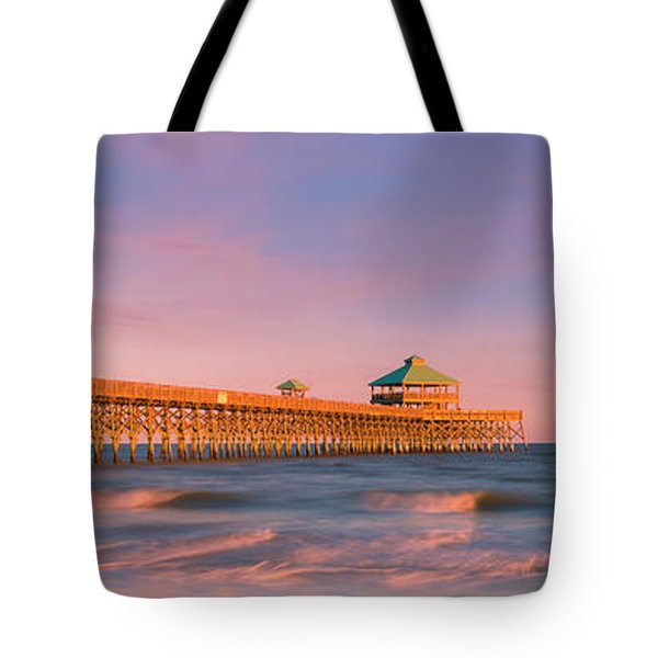 Tote Bag featuring the photograph South Carolina Fishing Pier At Sunset Panorama by Ranjay Mitra