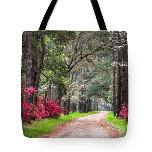 South Carolina Lowcountry Spring Flowers Dirt Road Edisto Island Sc Tote Bag