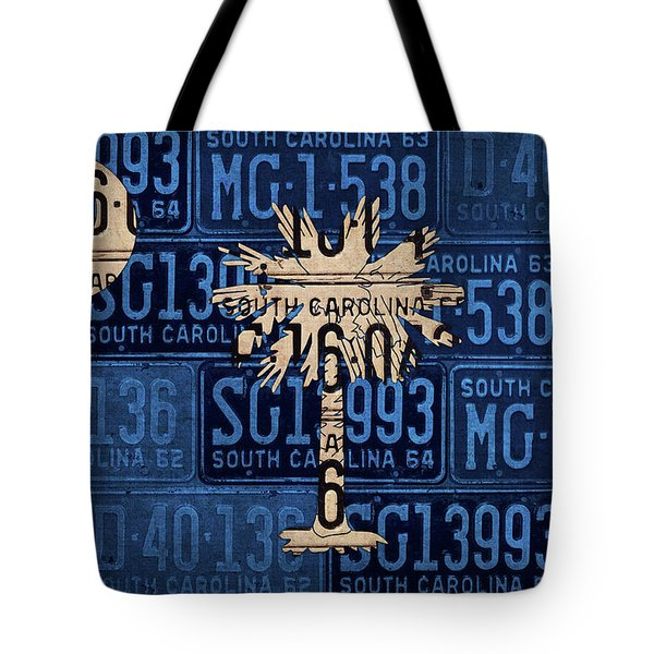 South Carolina State Flag Vintage License Plate Art Tote Bag by Design Turnpike