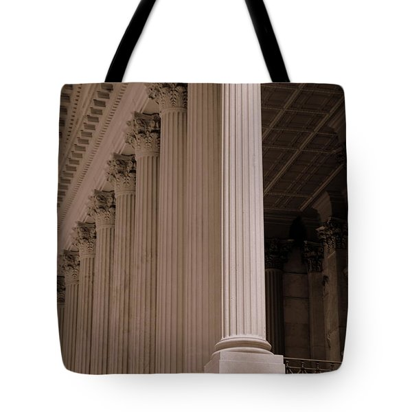 Tote Bag featuring the photograph South Carolina State House Columns  by Lisa Wooten