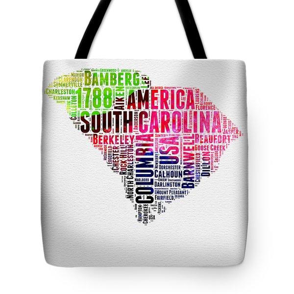 South Carolina Watercolor Word Cloud Tote Bag