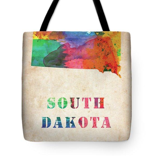 South Dakota Colorful Watercolor Map Tote Bag