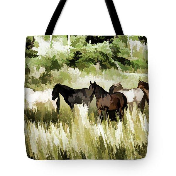 South Dakota Herd Of Horses Tote Bag by Wilma Birdwell