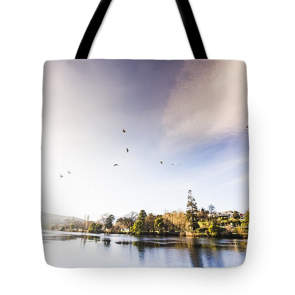 Tote Bag featuring the photograph South-east Tasmania River Landscape by Jorgo Photography - Wall Art Gallery