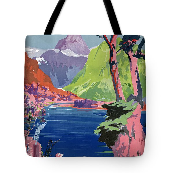 South Island New Zealand Vintage Poster Restored Tote Bag