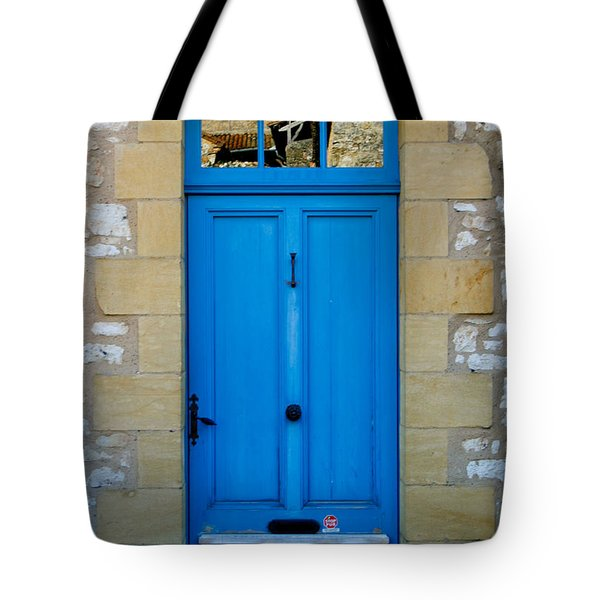South Of France Rustic Blue Door  Tote Bag by Georgia Fowler