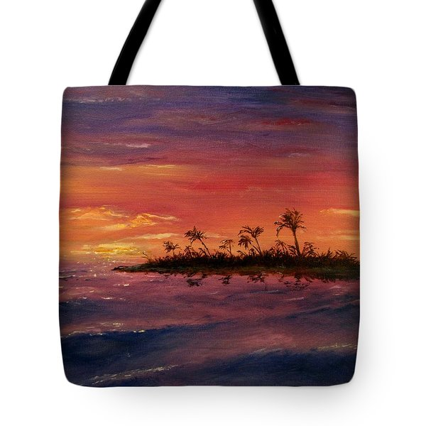 Tote Bag featuring the painting South Pacific Atoll by Jack Skinner