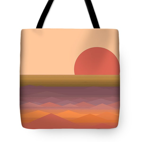 Tote Bag featuring the digital art South Seas Abstract Sunrise by Val Arie
