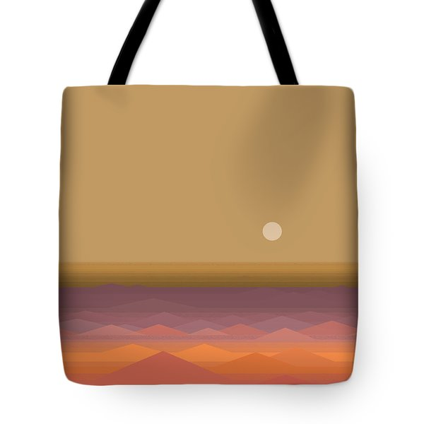 Tote Bag featuring the digital art South Seas Sunrise - Vertical by Val Arie