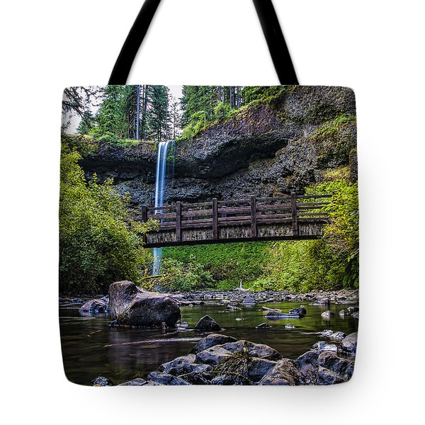 South Silver Falls With Bridge Tote Bag by Darcy Michaelchuk