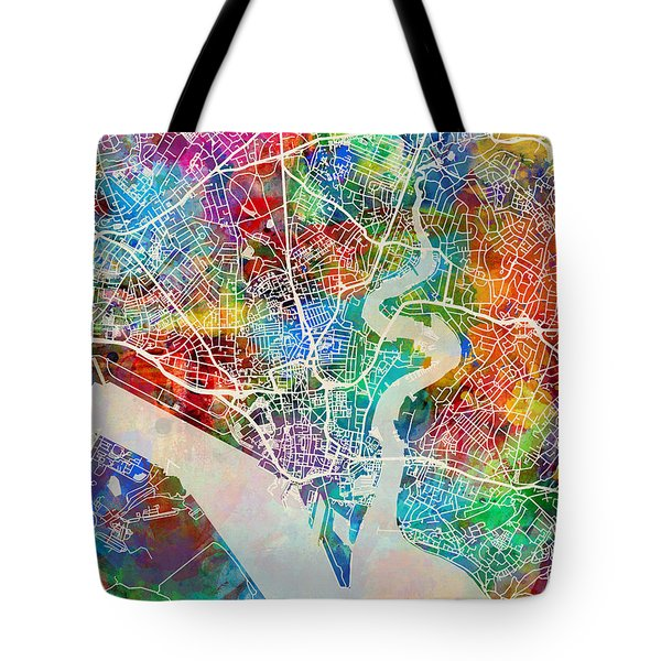 Southampton England City Map Tote Bag