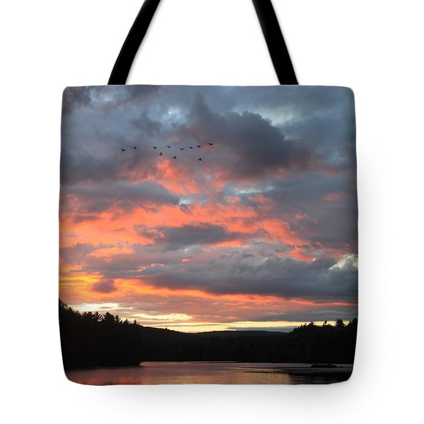 Southbound Geese At Sunset Tote Bag by John Burk