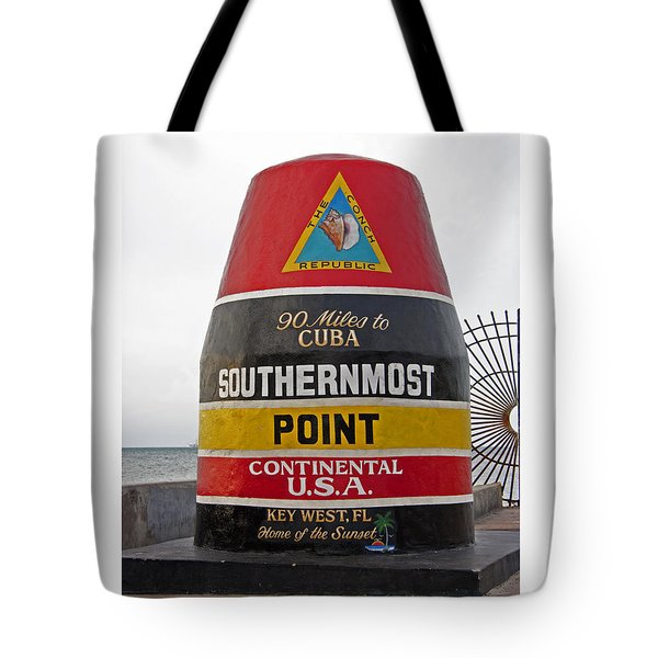 Southermost Point Of U.s.a. Buoy Marker Tote Bag by John Stephens