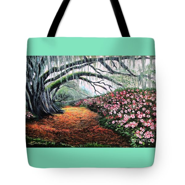 Tote Bag featuring the painting Southern Charm Oak And Azalea by Patricia L Davidson