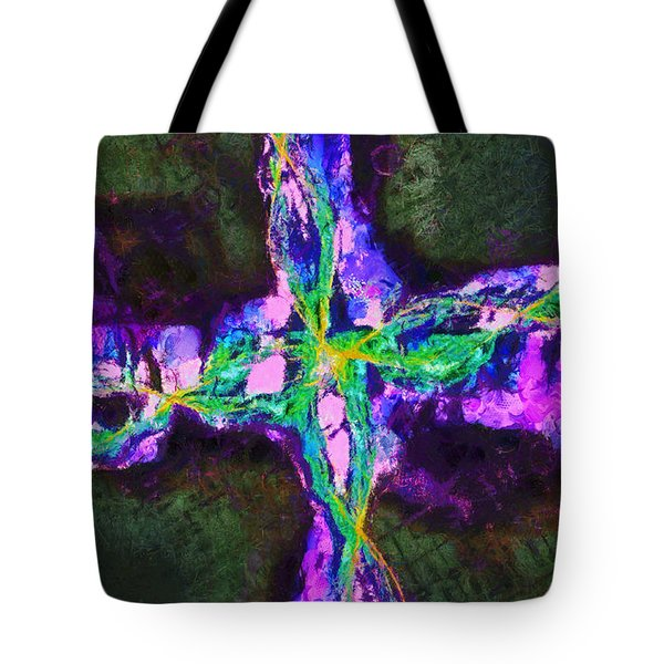 Tote Bag featuring the digital art Abstract Visuals - Southern Cross by Charmaine Zoe