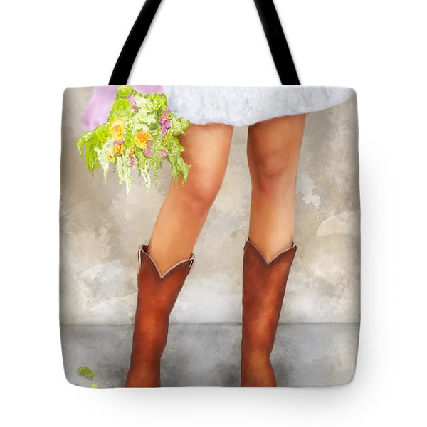 Southern Flower Girl In Her Fancy Boots Tote Bag