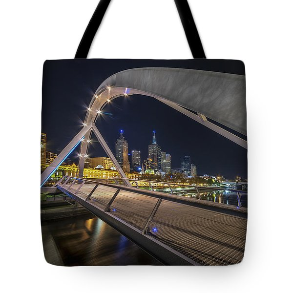 Tote Bag featuring the photograph Southgate Bridge At Night by Ray Warren
