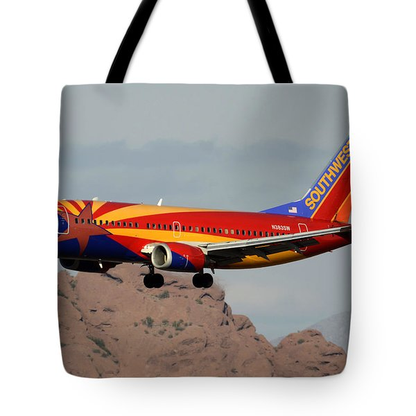 Southwest Boeing 737-3h4 N383sw Arizona Phoenix Sky Harbor December 20 2015  Tote Bag by Brian Lockett