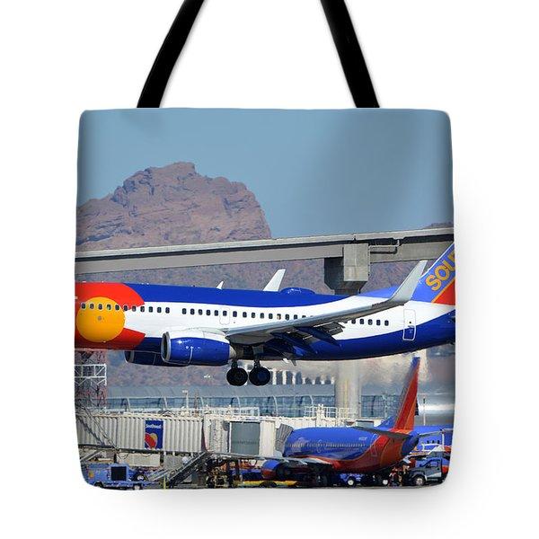 Southwest Boeing 737-7h4 N230wn Colorado One Phoenix Sky Harbor January 24 2016 Tote Bag by Brian Lockett