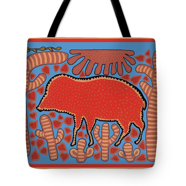 Tote Bag featuring the digital art Southwest Desert Wart Hog by Vagabond Folk Art - Virginia Vivier