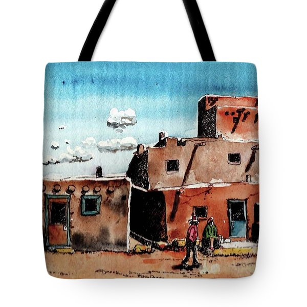 Tote Bag featuring the painting Southwest Homes by Terry Banderas