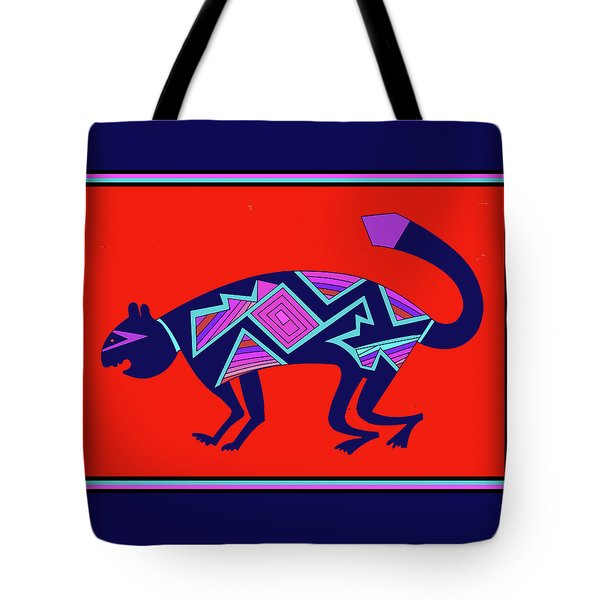 Tote Bag featuring the digital art Southwest Mimbres Feline by Vagabond Folk Art - Virginia Vivier