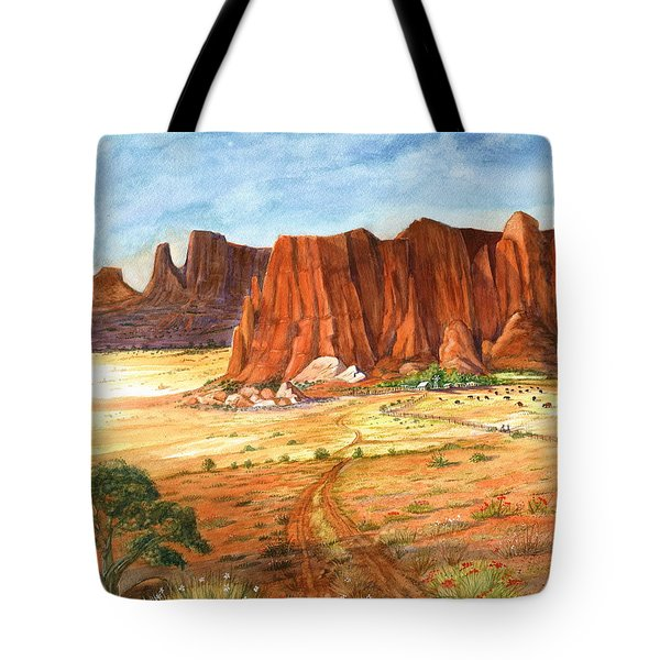 Tote Bag featuring the painting Southwest Red Rock Ranch by Marilyn Smith