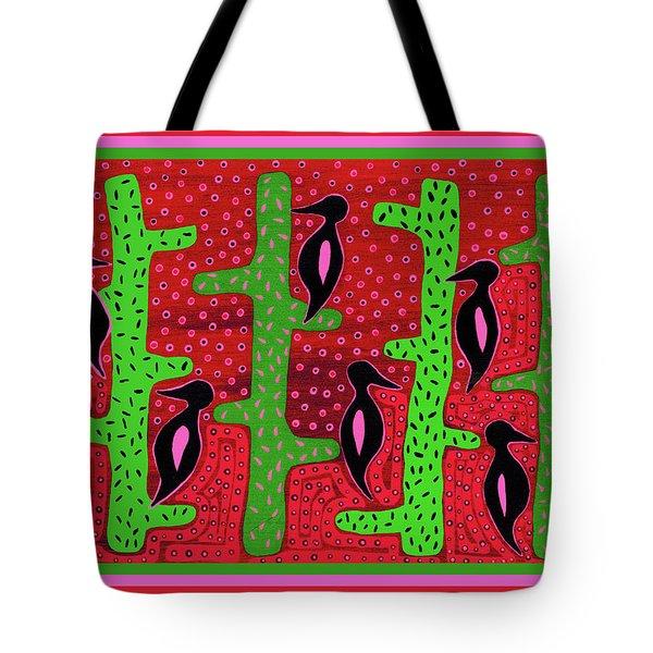 Tote Bag featuring the digital art Southwest Saguaro Birds by Vagabond Folk Art - Virginia Vivier