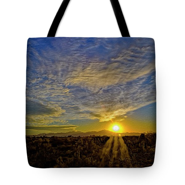 Tote Bag featuring the digital art Southwest Sunset Op40 by Mark Myhaver