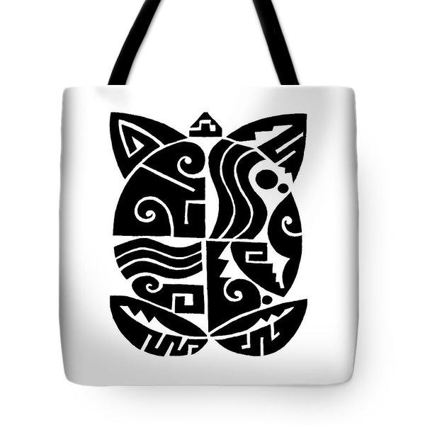 Tote Bag featuring the digital art Southwest Tribal Tortuga by Vagabond Folk Art - Virginia Vivier
