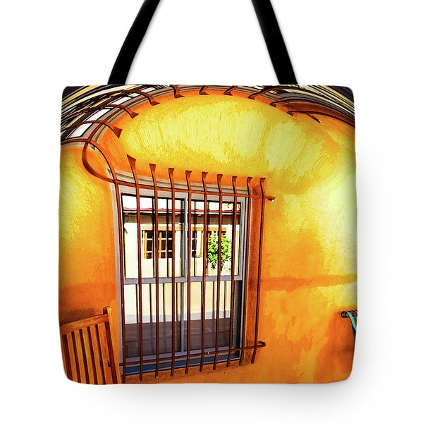 Southwestern Porch Distortion With Puple Floor Tote Bag