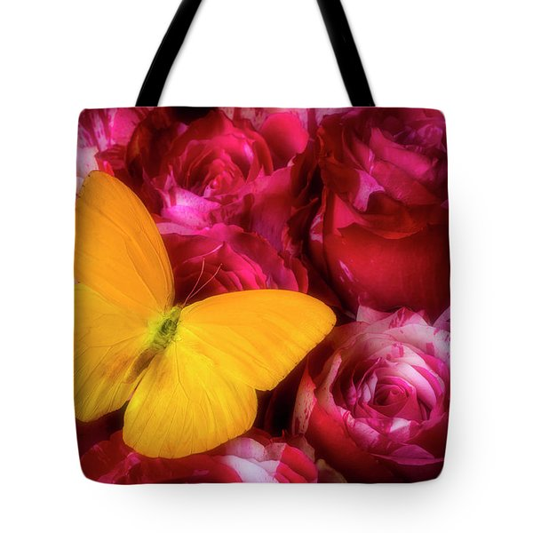 Soutime Roses And Yellow Butterfly Tote Bag