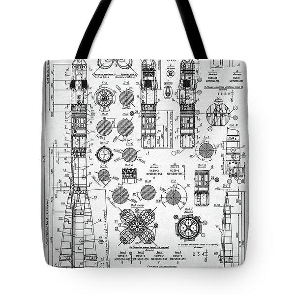 Tote Bag featuring the digital art Soviet Rocket Schematics by Taylan Apukovska
