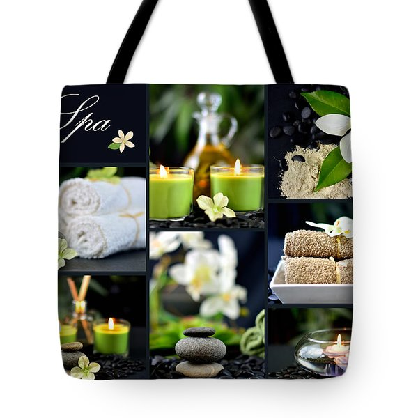 Spa Collage Tote Bag