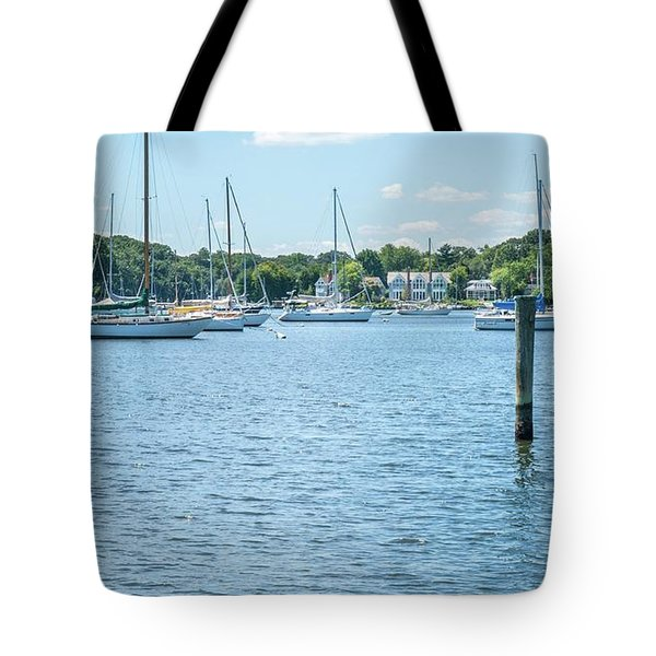 Tote Bag featuring the photograph Spa Creek In Blue by Charles Kraus