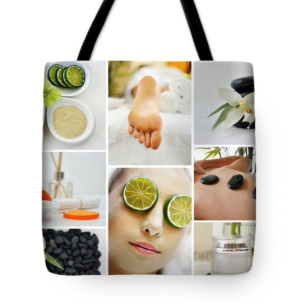 Spa Massage Facial Collage Tote Bag