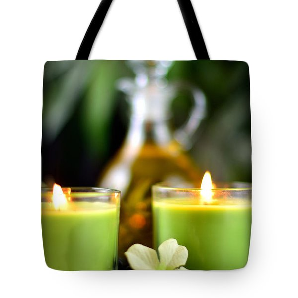 Spa Rocks And Candles Tote Bag