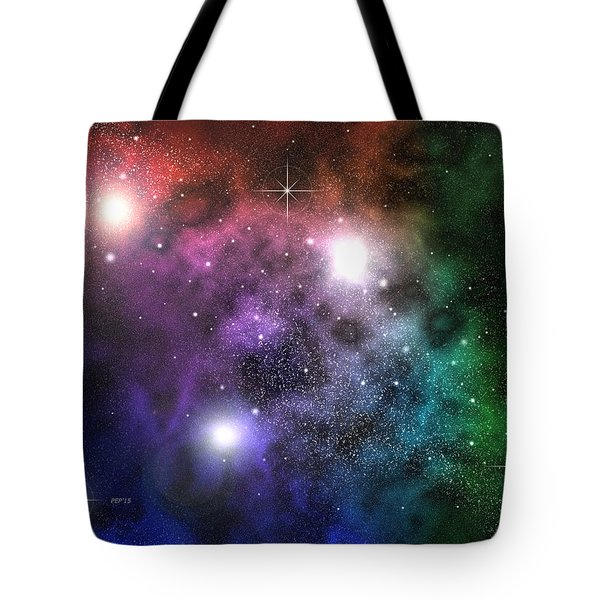 Tote Bag featuring the digital art Space Clouds by Phil Perkins